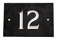 Black & white Slate Rectangle 102mm House plate number 12