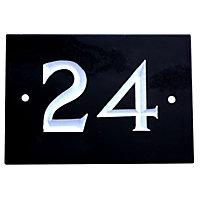 Black & white Slate Rectangle 102mm House plate number 24