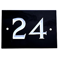 The House Nameplate Company Black & white Slate Rectangular House number 24, (H)102mm (W)140mm