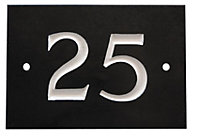 Black & white Slate Rectangle 102mm House plate number 25