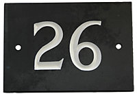 Black & white Slate Rectangle 102mm House plate number 26