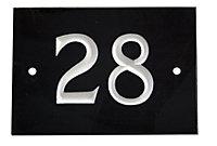 Black & white Slate Rectangle 102mm House plate number 28