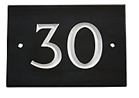 The House Nameplate Company Black & white Slate Rectangular House number 30, (H)102mm (W)140mm