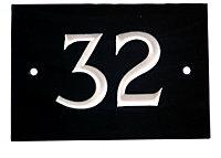 Black & white Slate Rectangle 102mm House plate number 32