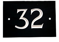 The House Nameplate Company Black & white Slate Rectangular House number 32, (H)102mm (W)140mm