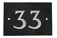 The House Nameplate Company Black & white Slate Rectangular House number 33, (H)102mm (W)140mm