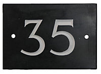 Black & white Slate Rectangle 102mm House plate number 35