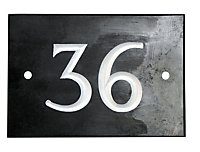 Black & white Slate Rectangle 102mm House plate number 36