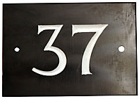 Black & white Slate Rectangle 102mm House plate number 37