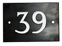 The House Nameplate Company Black & white Slate Rectangular House number 39, (H)102mm (W)140mm