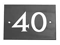 The House Nameplate Company Black & white Slate Rectangular House number 40, (H)102mm (W)140mm