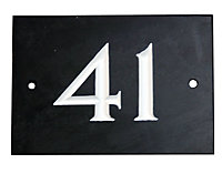 Black & white Slate Rectangle 102mm House plate number 41