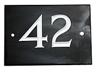 The House Nameplate Company Black & white Slate Rectangular House number 42, (H)102mm (W)140mm