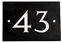 The House Nameplate Company Black & white Slate Rectangular House number 43, (H)102mm (W)140mm