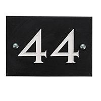 Black & white Slate Rectangle 102mm House plate number 44