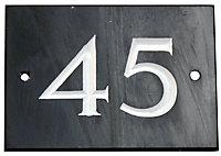 Black & white Slate Rectangle 102mm House plate number 45
