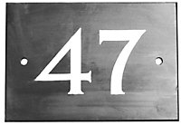 The House Nameplate Company Black & white Slate Non self adhesive Rectangular House number 47, (H)102mm (W)140mm
