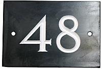 Black & white Slate Rectangle 102mm House plate number 48