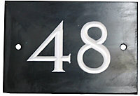 The House Nameplate Company Black & white Slate Non self adhesive Rectangular House number 48, (H)102mm (W)140mm