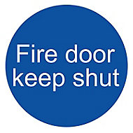 Fire door keep shut Fire information sign, (H)100mm (W)100mm