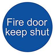 Fire door keep shut Fire information sign, (H)100mm (W)100mm