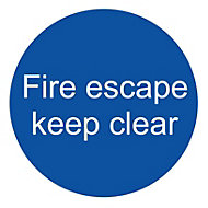 Fire escape keep clear Fire information sign, (H)100mm (W)100mm