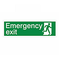 Emergency exit Self-adhesive labels, (H)125mm (W)400mm