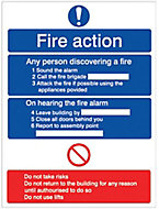 Fire action Fire information sign, (H)200mm (W)150mm