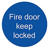 Fire door keep locked Fire information sign, (H)100mm (W)100mm