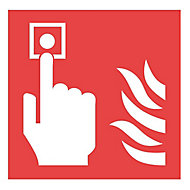 Fire alarm symbol Safety sign, (H)100mm (W)100mm