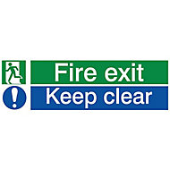 Fire exit keep clear Fire information sign, (H)80mm (W)250mm