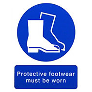Protective footwear must be worn Self-adhesive labels, (H)200mm (W)150mm
