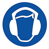 Hearing protection symbol Self-adhesive labels, (H)100mm (W)100mm