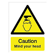 Caution mind your head Self-adhesive labels, (H)200mm (W)150mm