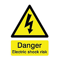 Danger electric shock risk Self-adhesive labels, (H)200mm (W)150mm