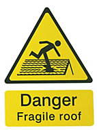 Danger fragile roof Self-adhesive labels, (H)200mm (W)150mm