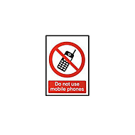 Do not use mobile phones Self-adhesive labels, (H)100mm (W)100mm