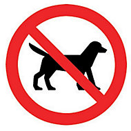 No dogs allowed Self-adhesive labels, (H)100mm (W)100mm