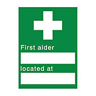 First aider located Self-adhesive labels, (H)200mm (W)150mm