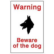 Beware of the dog Self-adhesive labels, (H)150mm (W)100mm