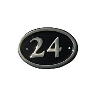 The House Nameplate Company Polished Black Brass Oval House number 24, (H)120mm (W)160mm