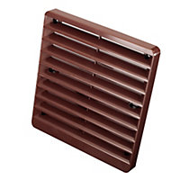 Manrose Brown Square Fixed louvre vent, (H)150mm (W)150mm