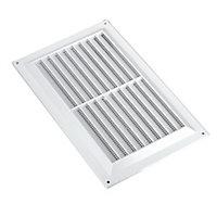 Manrose White Rectangular Fixed louvre vent & Fly screen, (H)152mm (W)229mm