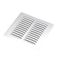Manrose Chrome effect Square Fixed louvre vent, (H)229mm (W)229mm
