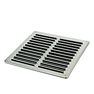 Manrose Chrome effect Square Gas appliances Fixed louvre vent, (H)229mm (W)229mm