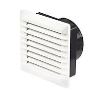 Manrose White Square Fixed louvre vent, (H)110mm (W)110mm