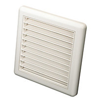 Manrose White Square Fixed louvre vent, (H)140mm (W)140mm