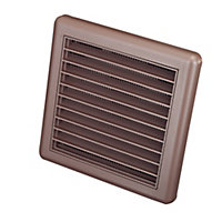 Manrose Brown Square Fixed louvre vent (H)140mm (W)140mm