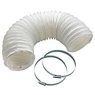 Manrose White PVC Flexible Ducting hose, (L)1m (Dia)125mm