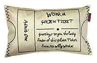 Roald Dahl Golden ticket Cushion